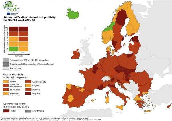 Χάρτες ECDC: Άσχημα τα νέα από τη νέα εκτίμηση για την εξάπλωση του κορωνοϊού