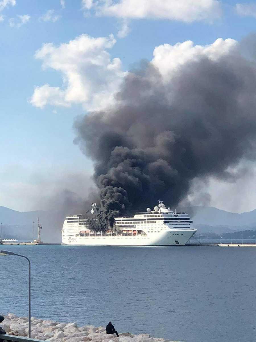 Φωτιά στο κρουαζιερόπλοιο: Άμεση ήταν η κινητοποίηση της Πυροσβεστικής